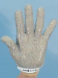 精肉加工・水産物の解体、工場内の機械等に刃物から手を保護!業務用・ヨーロッパ製高品質!ステンレスメッシュ手袋5本指タイプ Sサイズ【片手1本入り/1組】(左右兼用型)