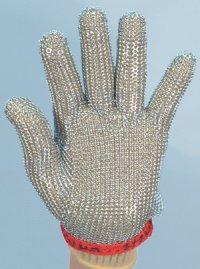 精肉加工・水産物の解体、工場内の機械等に刃物から手を保護!業務用・ヨーロッパ製高品質!ステンレスメッシュ手袋5本指タイプ Mサイズ【片手1本入り/1組】(左右兼用型)