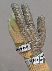 精肉加工・水産物の解体、工場内の機械等に刃物から手を保護!業務用・ヨーロッパ製高品質!ステンレスメッシュ手袋3本指タイプ Sサイズ【片手1本入り/1組】(左右兼用型)