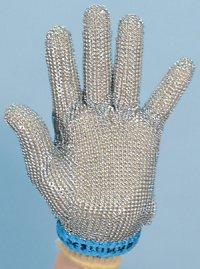 精肉加工・水産物の解体、工場内の機械等に刃物から手を保護!業務用・ヨーロッパ製高品質!ステンレスメッシュ手袋5本指タイプ Lサイズ【片手1本入り/1組】(左右兼用型)