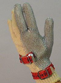 精肉加工・水産物の解体、工場内の機械等に刃物から手を保護!業務用・ヨーロッパ製高品質!ステンレスメッシュ手袋3本指タイプ Mサイズ【片手1本入り/1組】(左右兼用型)